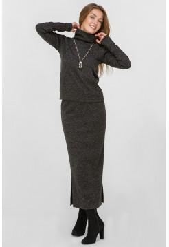 Костюм двойка: юбка миди и кофта кенгурушка, черный