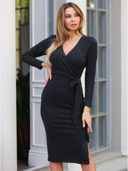 Платье с поясом ангора меланж