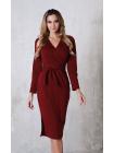 Платье с поясом Француз в цвете бордо