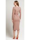 Платье с поясом Француз в цвете капучино