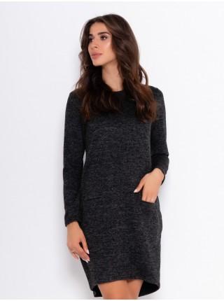 Черное ангоровое асимметричное платье