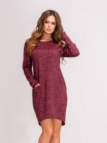 Бордовое меланжевое ангоровое платье с карманами