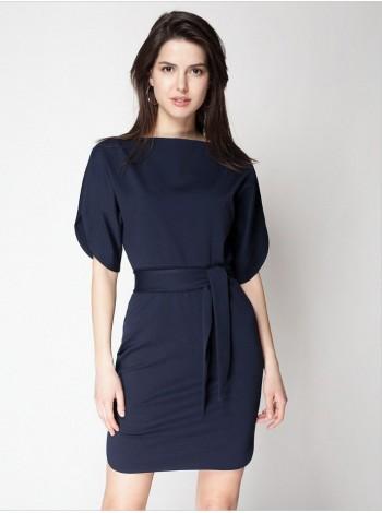 Платье трикотажное в темно-синем цвете. Сезон весна - лето