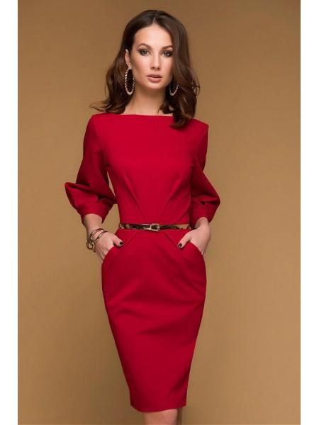 Платье миди с прорезными карманами