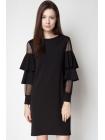 Платье с сеточкой на рукавах и пышными рюшами