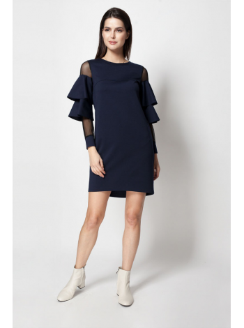 Платье с сеточкой и рюшами