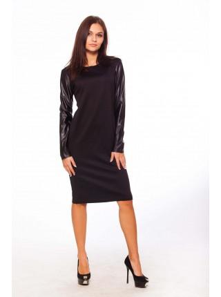 """Платье с кожаным рукавом """"Milana"""""""