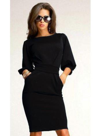 Платье фонарик черное