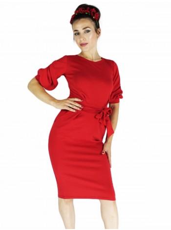 Платье фонарик красное