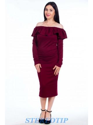 Платье волан с длинными рукавами