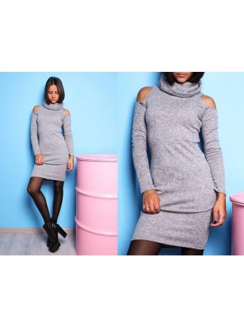 Платье теплое с вырезом на плечах под заказ ЗПТ92