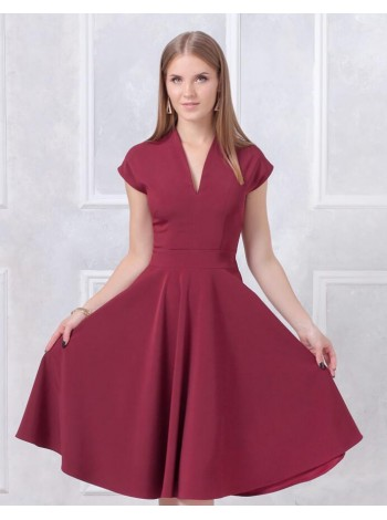 Платье миди с пышной юбкой цвет бордо купить оптом и в розницу