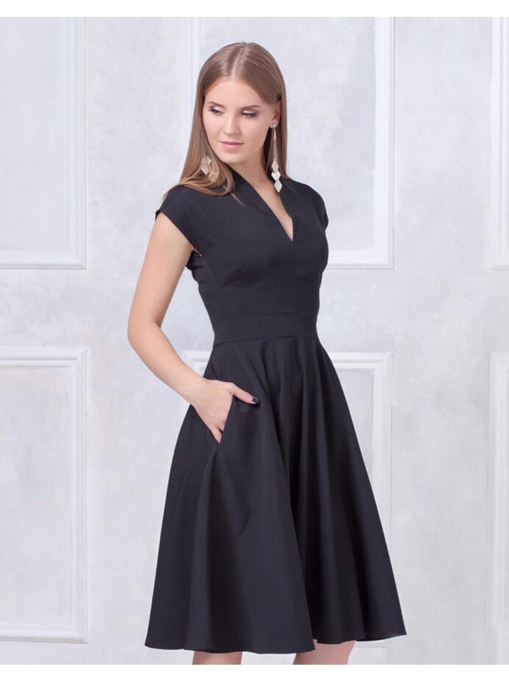8c33f5aec21 Платье с пышной юбкой черное купить оптом и в розницу