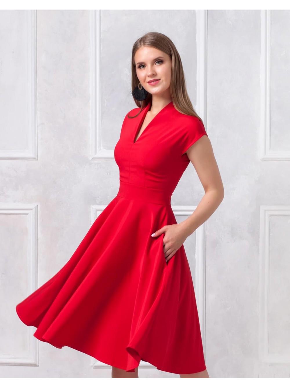8a3344d199e Платье длины миди с V-образным вырезом купить оптом и в розницу
