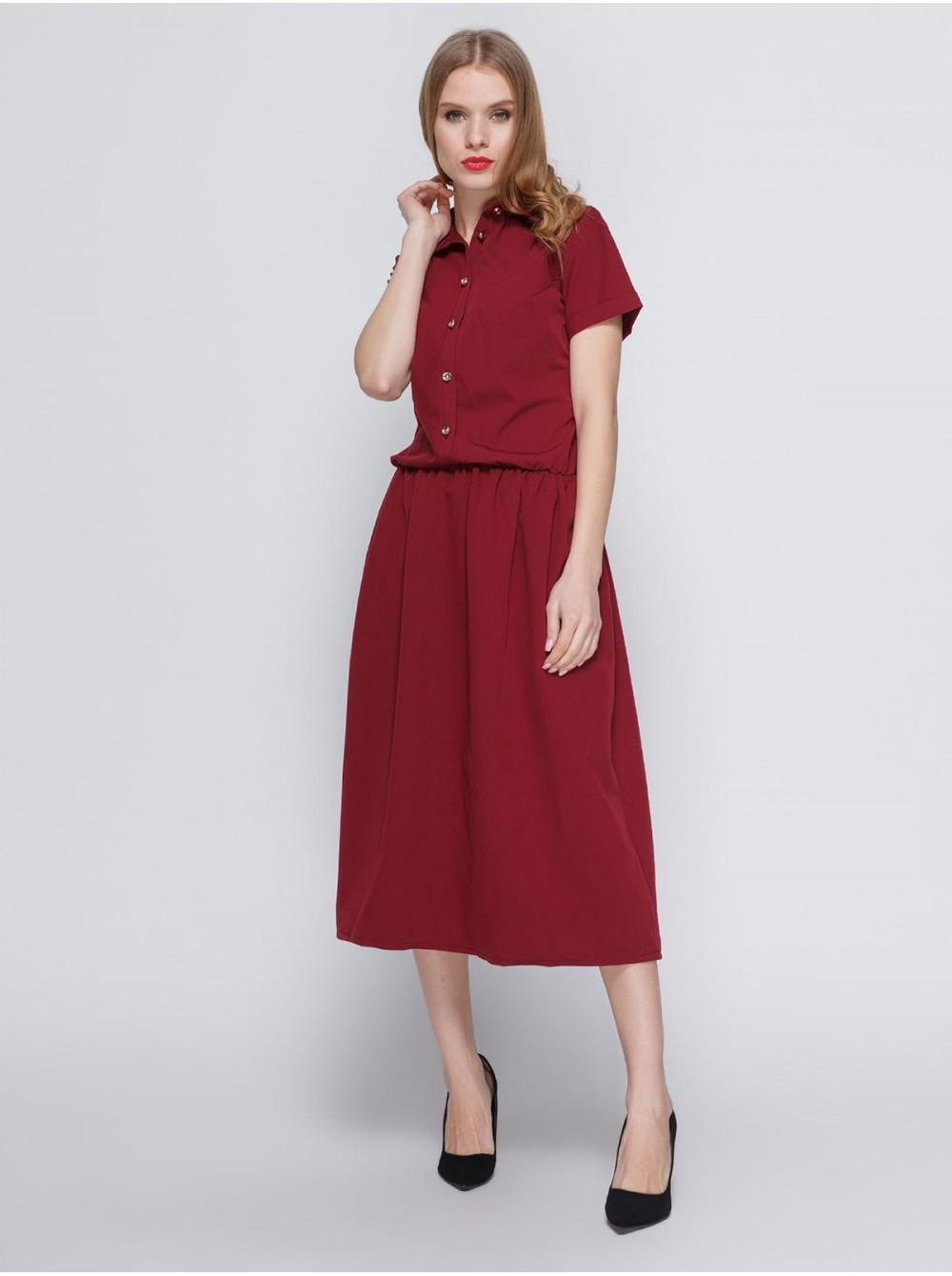 23fddb8f531 Платье цвета марсала с удобным поясом на резинке. Опт