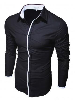Рубашка черная приталеная 70001