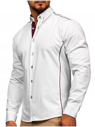 Бело-бордовая элегантная мужская рубашка с длинным рукавом