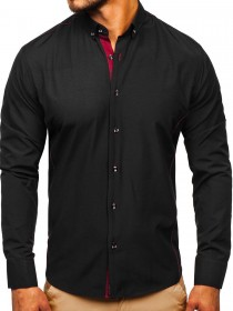 Мужская рубашка элегантная с длинным рукавом черно-бордовая