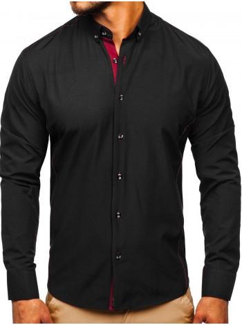 Черно-бордовая элегантная мужская  рубашка