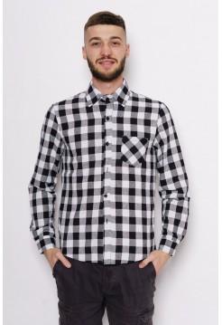 Рубашка в клетку байковая черно-белая